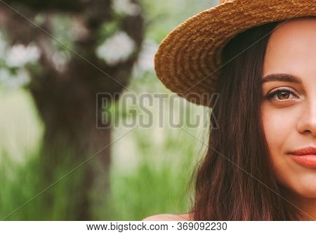 Portrait Young Beautiful Woman In Straw Hat Smiling Outdoors. Happy Attractive Hipster Girl Posing O