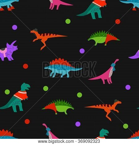 Dino On Black Background. Seamless Baby Dinosaurs Pattern For Textile, Fabric, Print Or Wallpaper. T