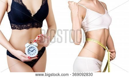 Collage Of Woman With Measuring Tape Slimming With Time Regime. Time Limit Concept. Isolated On Whit