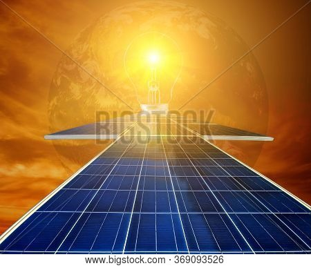 The Solar Farm(solar Panel), Alternative Energy To Conserve The World's Energy, Photovoltaic Module