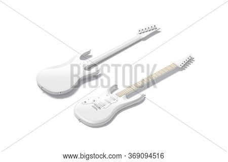 Blank White Electric Guitar Mockup, Front And Back Side View, 3d Rendering. Empty Tuner Musician Equ
