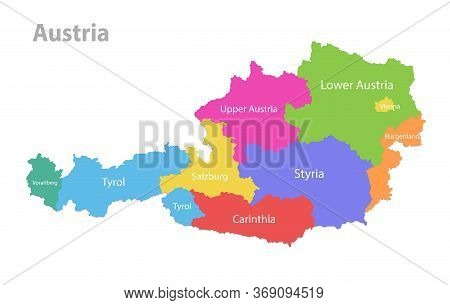 Austria Map, Administrative Division, Separate Individual States With State Names, Color Map Isolate