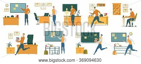 Nine School Teacher Professional Life Situations. One Working Day. Delivering Lecture To Students, H