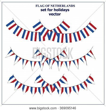 Set With Flags Of Netherlands With Folds. Happy Netherlands Day Collection. Bright Illustration With