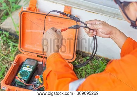 Engineers Used A Tool For Checking The Performance Of The Solar Panel To Confirming Systems Working