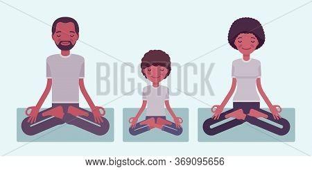 Happy Black Yogi Family In Sports Wear Practicing Yoga, Meditating Doing Padmasana Pose, Lotus Exerc