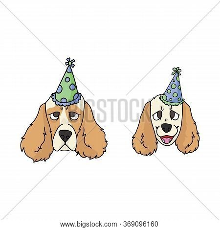 Cute Cartoon Cocker Spaniel Dog And Puppy Face With Party Hat Vector Clipart. Pedigree Kennel Dog Lo