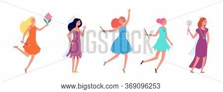 Fairy Ladies. Cartoon Princess, Girls In Festive Dresses. Isolated Flat Actresses, Tale Characters W