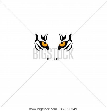 Mascot Tiger. Tiger Eyes On White Background