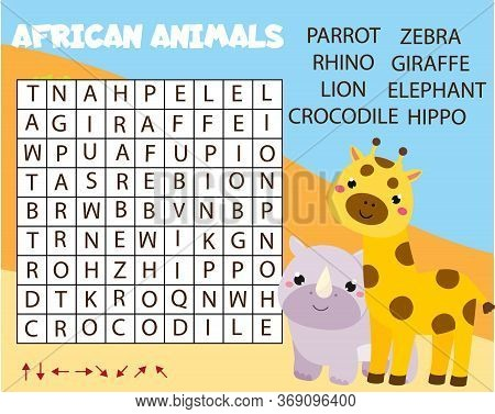 Educational Game For Children. Word Search Puzzle. Learn African Animals For Kids And Toddlers