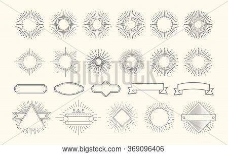 Retro Starburst Set. Vintage Sunburst Graphic Elements. Sunrise Circle Line Decorations. Badges With