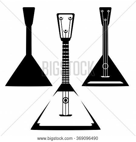 Vintage Style Traditional Russian Balalaika Musical Instrument - Black And White Vector Silhouette A