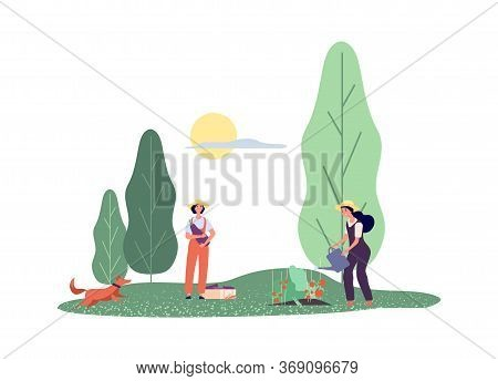 Happy Farmers. Flat Women Agricultural Workers With Vegetables. Girls Farming, Cartoon Rural Life An