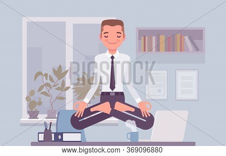 Office Worker Meditating For Relaxation, Yogi Man Practicing Yoga At Workplace, Doing Padmasana Pose