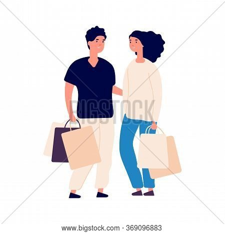 Shopping Time. Isolated Flat Man Woman With Eco Bags. People On Store, Cute Cartoon Couple And Purch