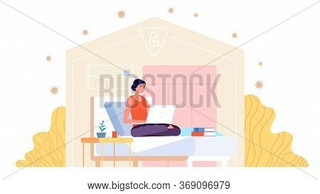 Work From Home. Adult Woman Working, Young Professional With Laptop. Isolation Period Freelancer, St