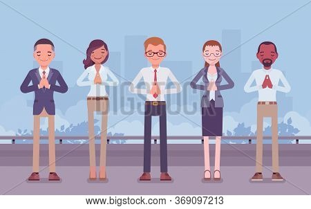 Office Yoga Group Of Business People Doing Namaste Hand Gesture, Mudra Pose, Bowing In Greeting, Yog