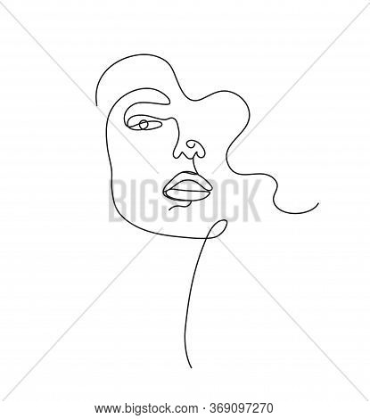 Vector Hand Drawn Linear Art, Woman Face, Continuous Line, Fashion Concept, Feminine Beauty Minimali