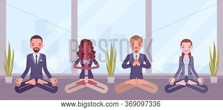 Office Yoga Group Of Business People Practicing Meditation In Padmasana Pose, Lotus Exercise, Yogic