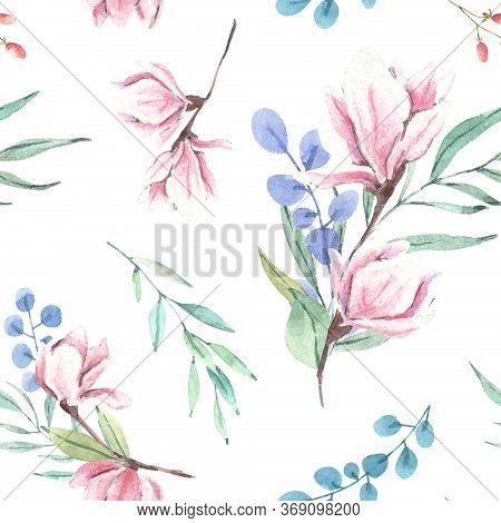 Hand Drawn Watercolor Magnolia Floral Pattern. Watercolor Flowers, Illustration Isolated On White Ba