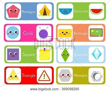 Set Of Flashcards Wtih Forms And Objects. Geometric Shapes In Life Cards. Educational Material For C
