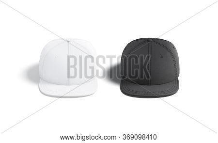 Blank Black And White Jeans Snapback Mockup Set, Front View, 3d Rendering. Empty Sport Denim Headwea