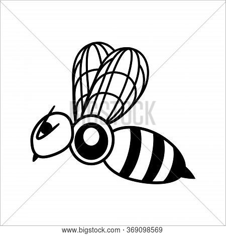 Bee Logo Design Vector. Honeybee Abstract Symbol. Outline Flying Insect Vector Icon. Steampunk Stock