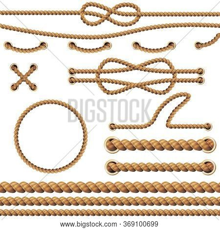 Realistic Detailed 3d Rope Elements Set On A White. Vector Illustration Of Nautical Border And Cord