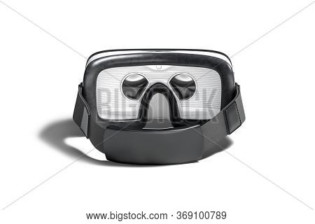 Blank White Virtual Reality Goggles Mockup, Back View, 3d Rendering. Empty Immersion Mask Or Helmet