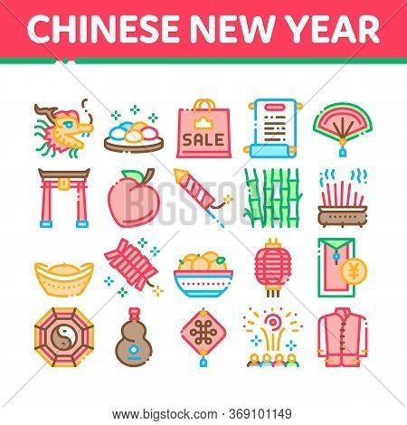 Chinese New Year Feast Collection Icons Set Vector. Chinese Traditional Hat And Clothes, Dragon And