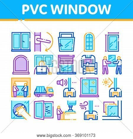 Pvc Window Frames Collection Icons Set Vector. Pvc Window Architectural Glass Building Detail And Ha
