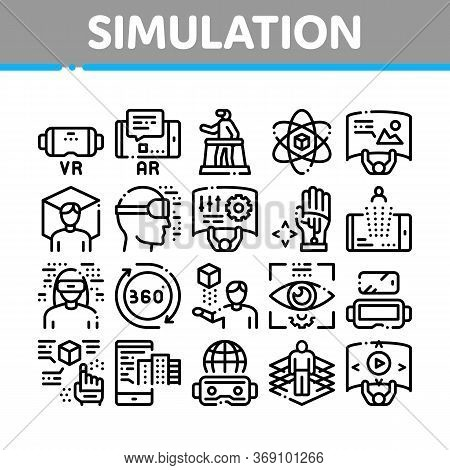 Simulation Equipment Collection Icons Set Vector. Virtual Reality Vr Glasses And Simulation Device,