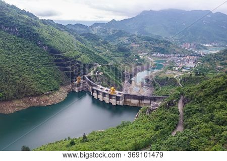 Dam Wall And Surrounding Landscape At Wulong Dam In Chongqing, China. View From The Contra Dam Over