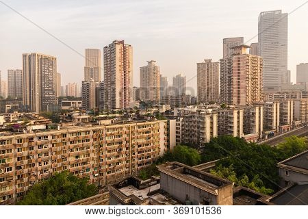 City View Of Chongqing High Rise Buildings, Modern Residential, Shopping Center. Chongqing, China.