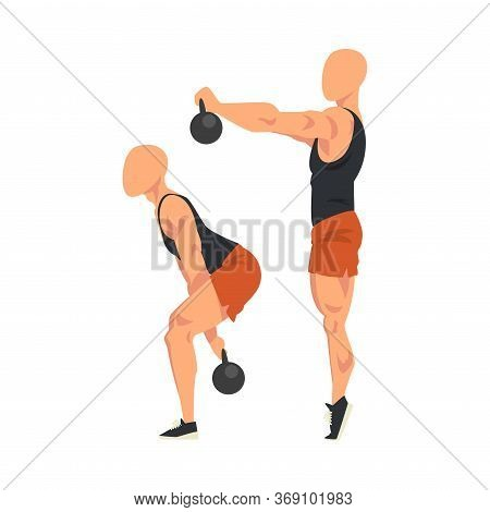 Man Doing Squats With Kettlebell In Two Steps, Side View Of Male Athlete Doing Sports For Fit Body,