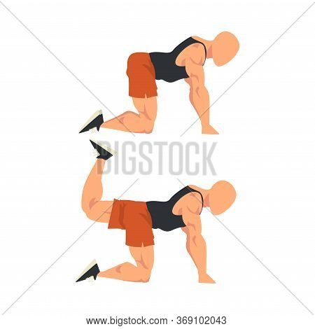 Man Doing Donkey Kicks Exercise In Two Steps, Male Athlete Doing Sports For Fit Body, Buttock Workou