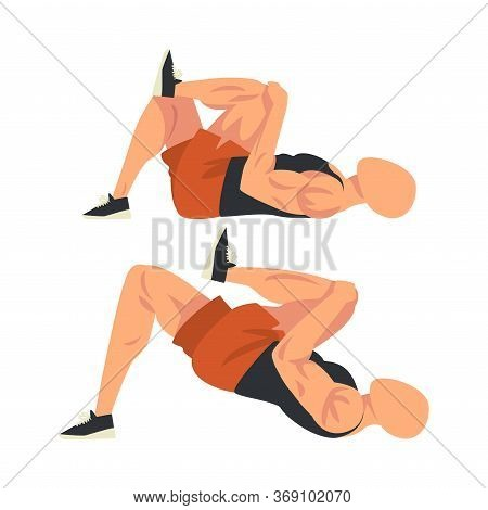 Man Doing Glute Exercise With Hip Raise In Two Steps, Male Athlete Doing Sports For Fit Body, Buttoc