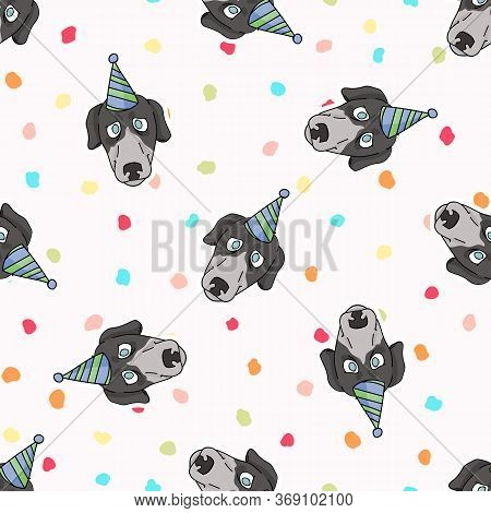 Hand Drawn Cute Greyhound Dog Face With Party Hat Seamless Vector Pattern. Purebred Pedigree Fast Pu