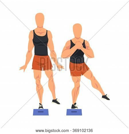 Man Doing Glute Exercise Using Steps Platform In Two Steps, Male Athlete Doing Sports For Fit Body,