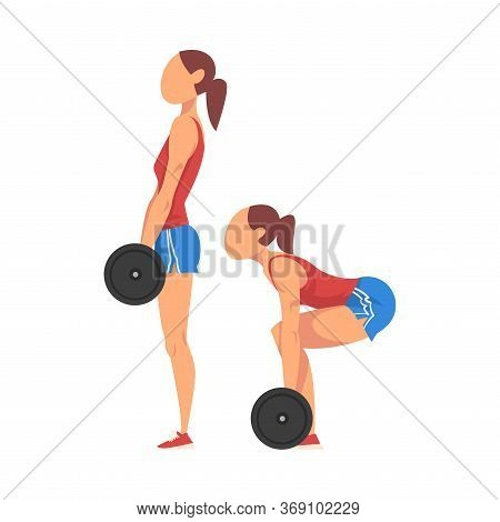Woman Doing Squats With Barbell In Two Steps, Girl Doing Sports Firming Her Body, Buttock Workout Ve