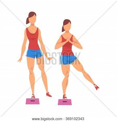 Woman Doing Glute Exercise Using Steps Platform In Two Steps, Girl Doing Sports Firming Her Body, Bu