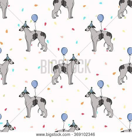 Hand Drawn Cute Greyhound Dog With Party Hat Seamless Vector Pattern. Purebred Pedigree Fast Puppy C