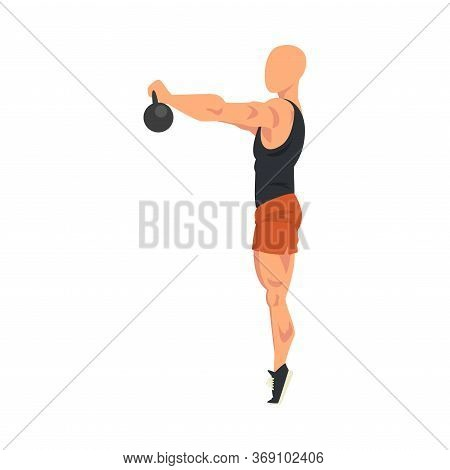 Man Lifting Kettlebell, Male Athlete Doing Sports For Fit Body, Buttock Workout Vector Illustration
