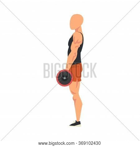 Man Standing With Barbell, Side View Of Male Athlete Doing Sports For Fit Body, Buttock Workout Vect
