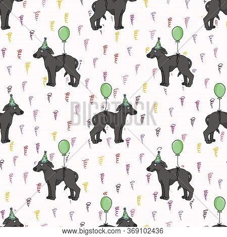 Hand Drawn Cute Greyhound Puppy With Party Hat Seamless Vector Pattern. Purebred Pedigree Fast Dog C