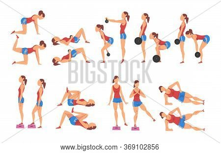 Female Athlete Doing Sports For Fit Body, Buttock Workout Vector Illustration Isolated On White Back