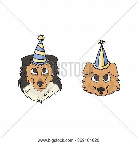 Cute Cartoon Rough Collie Dog And Puppy Face With Party Hat Vector Clipart. Pedigree Kennel Sheepdog