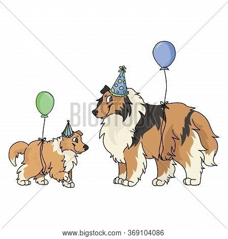 Cute Cartoon Rough Collie Dog And Puppy With Party Hat Vector Clipart. Pedigree Kennel Sheepdog For