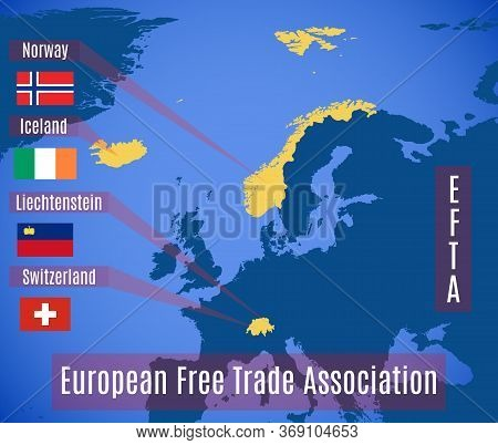 Vector Schematic Map Of The European Free Trade Association (efta).