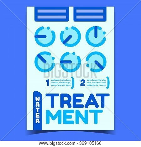 Water Treatment System Creative Banner Vector. Water Treatment Technology For Filtration And Purity